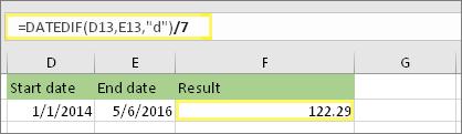 = (DATEDIF (D13, E13,