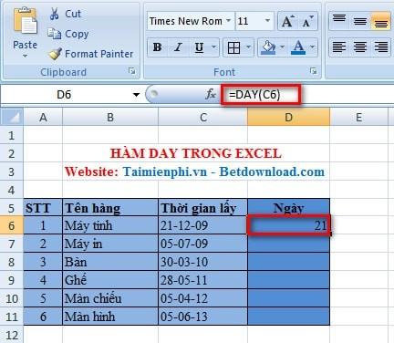 Hàm Tính Tháng Trong Excel
